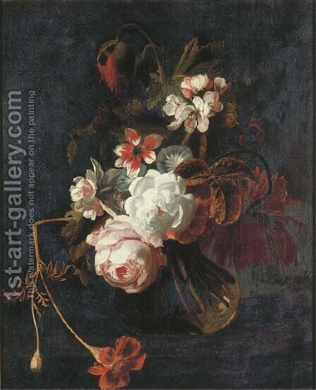 Roses, poppies, chrysanthamums, apple blossom, and other summer flowers in a glass vase with a butterfly by (after) Simon Pietersz. Verelst - Reproduction Oil Painting