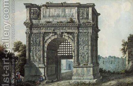 The Arch of Trajan, Rome by (after) Simone Pomardi - Reproduction Oil Painting