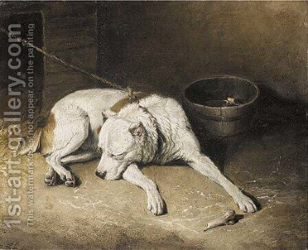 A sleeping dog by (after) Landseer, Sir Edwin - Reproduction Oil Painting
