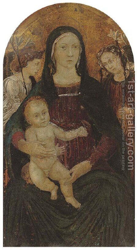 The Madonna and Child surrounded by angels by (after) The Master Of Marradi - Reproduction Oil Painting