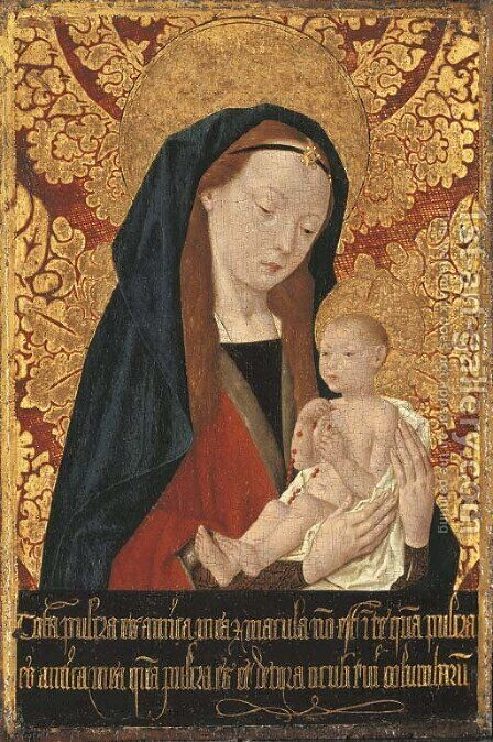 The Virgin and Child by (after) The Master Of Saint Giles - Reproduction Oil Painting