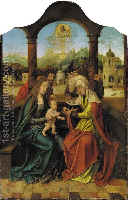 The Holy Family with Saints Anna and Joachim by (after) The Master Of The Holy Blood - Reproduction Oil Painting