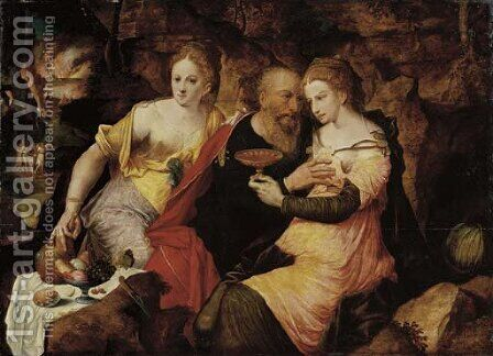 Lot and his Daughters by (after) The Master Of The Prodigal - Reproduction Oil Painting