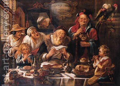 'Soo d'Oude Soeng, Soo Pypte d'Ioenge' by (attr. to) Jordaens, Jacob - Reproduction Oil Painting