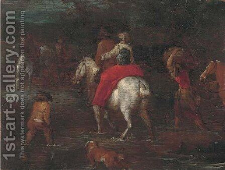 Travellers fording a river a fragment by (after) Theobald Michau - Reproduction Oil Painting