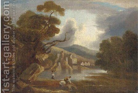 Figures before a lakeside village by (after) Thomas Barker Of Bath - Reproduction Oil Painting