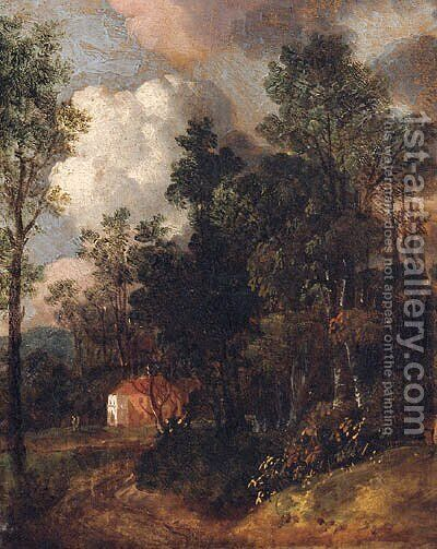 A Country House In A Wooded Landscape by (after) Thomas Churchyard - Reproduction Oil Painting