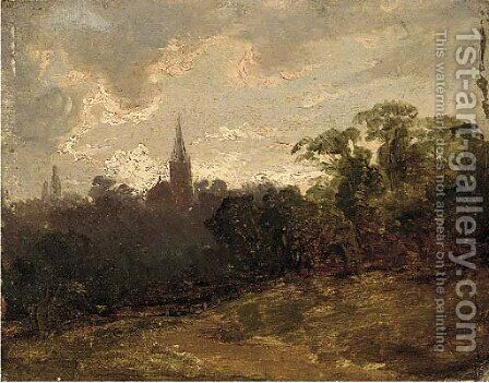 A wooded landscape with a church beyond by (after) Thomas Churchyard - Reproduction Oil Painting