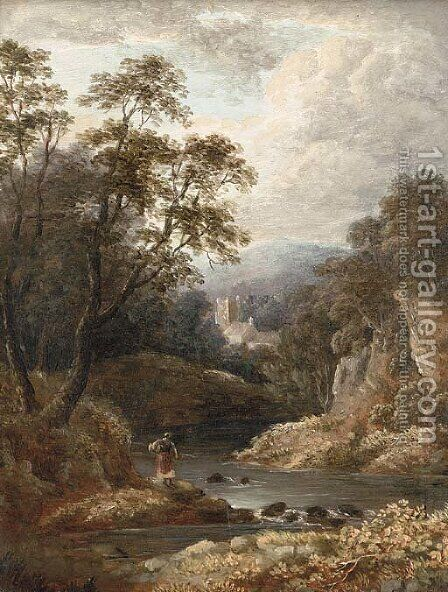 A figure on a riverbank with a church beyond by (after) Thomas Creswick - Reproduction Oil Painting