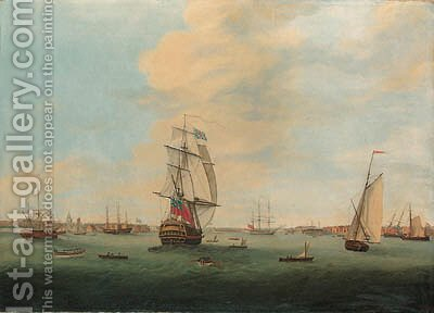 A Flagship of the Red leaving Portsmouth by (after) Thomas Elliot - Reproduction Oil Painting
