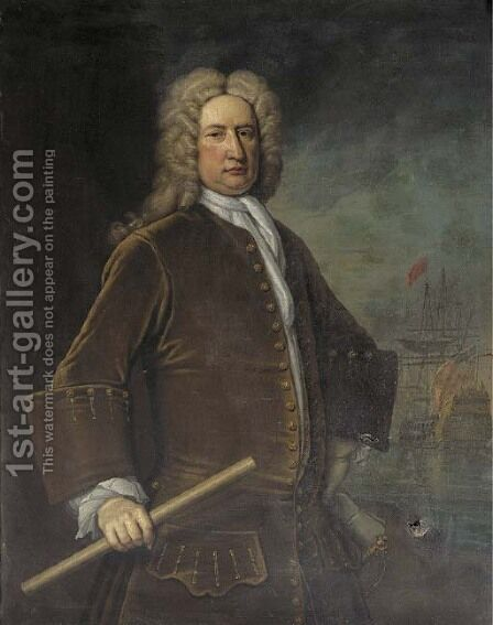 Portrait of Vice-Admiral Sir John Baker (1660-1716) by (after) Thomas Gibson - Reproduction Oil Painting