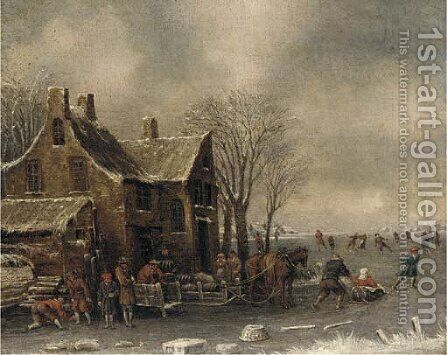 Townsfolk skating and sledging on a frozen lake before a building by (after) Thomas Heeremans - Reproduction Oil Painting