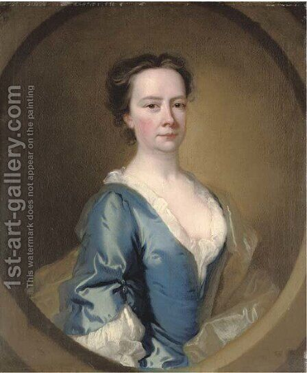 Portrait of a lady, half-length, in a blue dress and white chemise, feigned oval by (after) Thomas Hudson - Reproduction Oil Painting