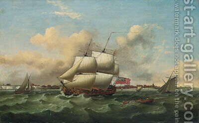 A Man-o'-War and other shipping, in a heavy swell off the South Coast by (after) Thomas Luny - Reproduction Oil Painting