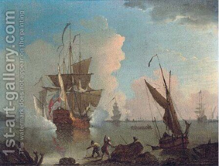 A warship announcing its departure from the anchorage by (after) Mellish, Thomas - Reproduction Oil Painting
