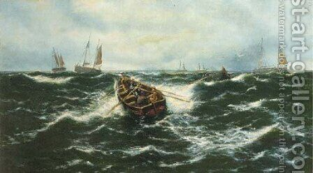 Fisherman rowing out to their boats by (after) Thomas Rose Miles - Reproduction Oil Painting