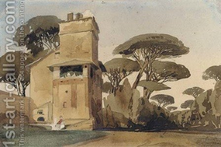 A Tuscan villa surrounded by trees by (after) Thomas Shotter Boys - Reproduction Oil Painting