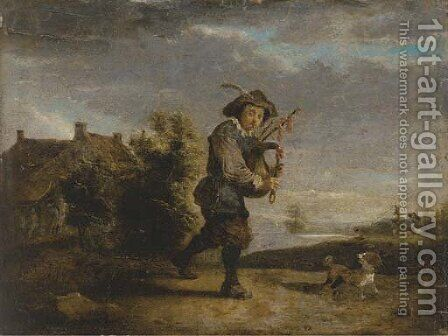 A bagpipe player in a landscape by (after) Thomas Van Apshoven - Reproduction Oil Painting