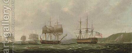 The British fleet anchored off St. Helena by (after) Thomas Whitcombe - Reproduction Oil Painting