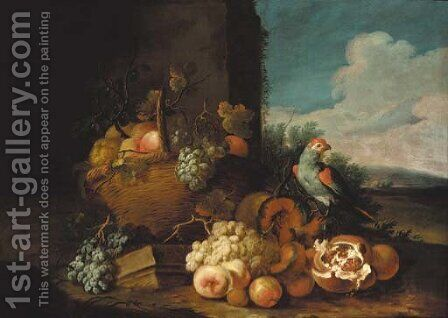 A basket of grapes by (after) Tobias Stranover - Reproduction Oil Painting