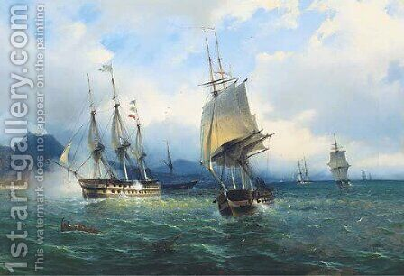 Warships in the Mediterranean signalling their arrival off Naples by (after) De Simone Tommaso - Reproduction Oil Painting