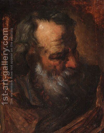 Study of the head of an apostle by (after) Ubaldo Gandolfi - Reproduction Oil Painting