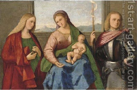 The Madonna and Child with Saint Mary Magdalen and Saint George by (after) Vincenzo Di Biagio Catena - Reproduction Oil Painting