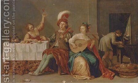 Elegant company playing music and merrymaking in an interior by (after) Willem Bartsius - Reproduction Oil Painting