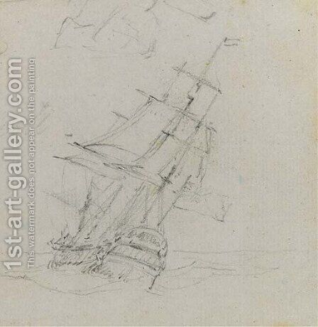 An East Indiaman heeling in the breeze by (after) William Daniell - Reproduction Oil Painting