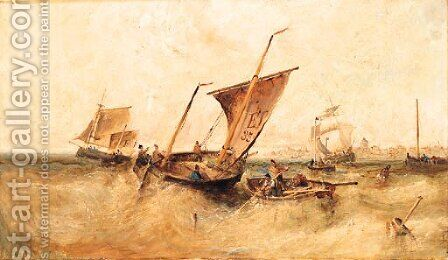 Shipping off a Port, possibly Falmouth by (after) William Edward Webb - Reproduction Oil Painting
