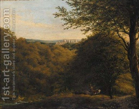 Deers in a wooded landscape, a hilltop castle beyond by (after) William Havell - Reproduction Oil Painting