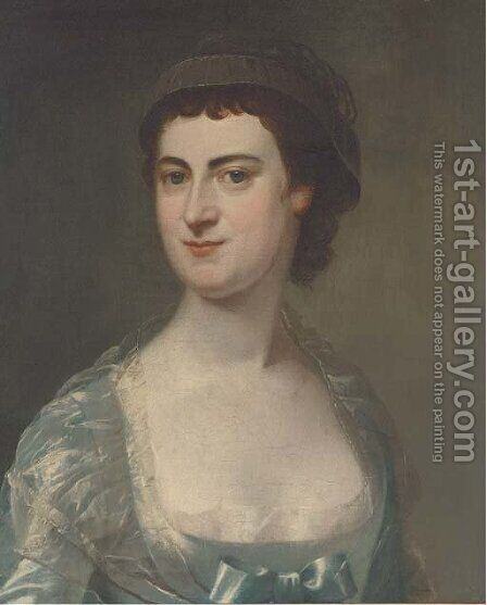 Portrait of Mrs Mary Knowles (1733-1807), bust-length, in a blue dress by (after) Hoare, William, of Bath - Reproduction Oil Painting