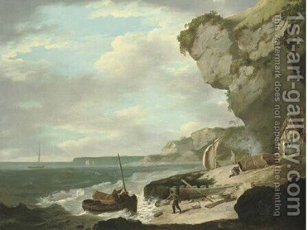 Coastal scene with fishermen on a beach in the foreground and sailing boats beyond by (after) William Hodges - Reproduction Oil Painting