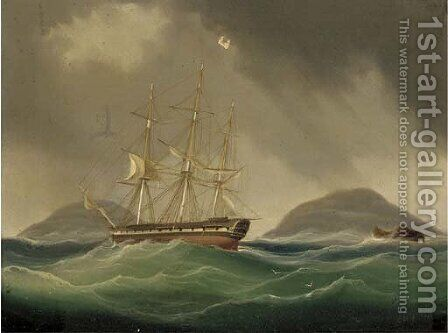 A frigate hove-to and riding her anchors in a gale by (after) William John Huggin - Reproduction Oil Painting