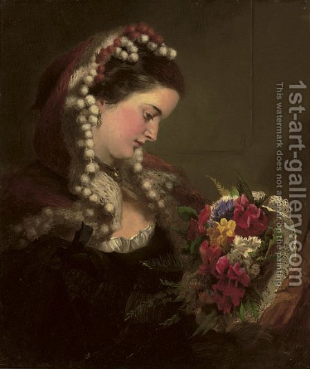 A Victorian Bouquet by (after) Frith, William Powell - Reproduction Oil Painting