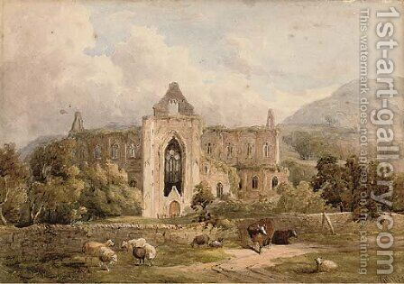Cattle and sheep before abbey ruins (illustrated); and Figures before a riverside castle by (after) William Richardson - Reproduction Oil Painting