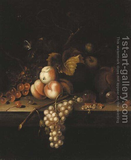 Cherries, peaches, grapes and white currants on a ledge by (after) William Sartorius - Reproduction Oil Painting