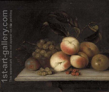 Peaches, grapes, red and whitecurrants, and an apple, on a ledge by (after) William Sartorius - Reproduction Oil Painting