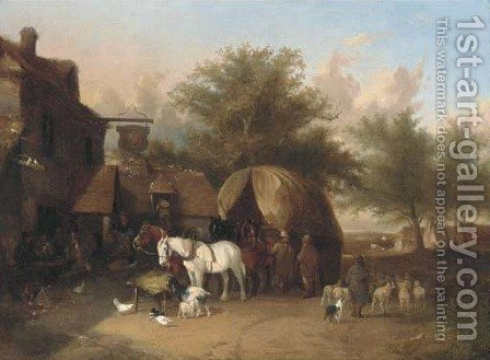 Outside the inn by (after) William Snr Shayer - Reproduction Oil Painting