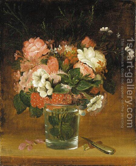 Still Life with Flowers in a Glass by (after) William Sidney Mount - Reproduction Oil Painting
