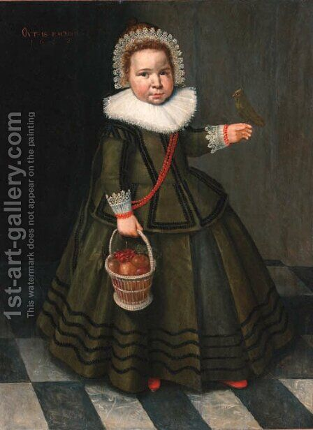 Portrait of a young girl by (after) Wybrand Simonsz. De Geest - Reproduction Oil Painting