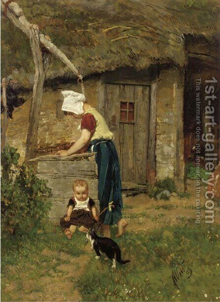 Fetching water by August Allebé - Reproduction Oil Painting