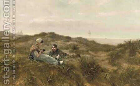 Flirting in the dunes by August Bohnhorst - Reproduction Oil Painting