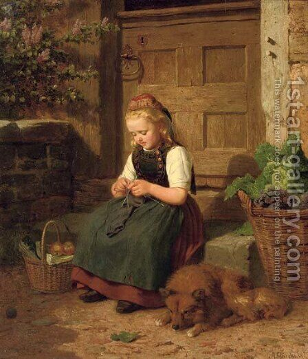 A young girl knitting by Auguste Dircks - Reproduction Oil Painting