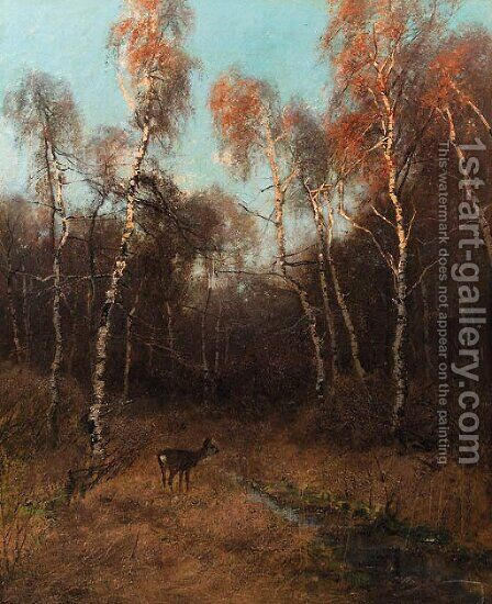 A birch forest with a deer by a stream by August Fink - Reproduction Oil Painting