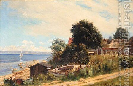 The house by the sea by August Haerning - Reproduction Oil Painting