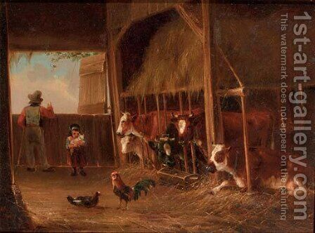 Helping father in the stable by Augustus Knip - Reproduction Oil Painting