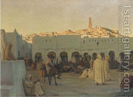 Oriental market at Ghardaia by August Le Gras - Reproduction Oil Painting