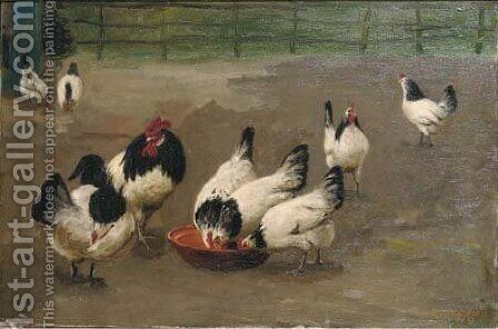 Chickens feeding by August Le Gras - Reproduction Oil Painting