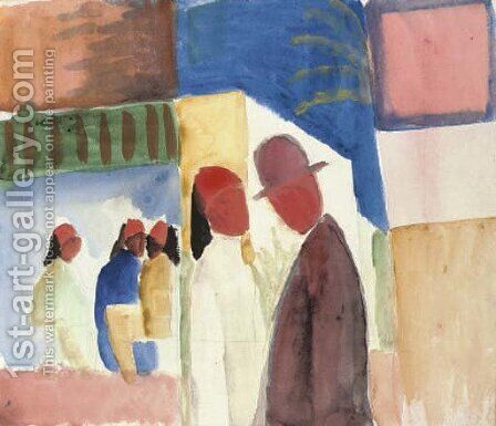 Auf der Strasse by August Macke - Reproduction Oil Painting